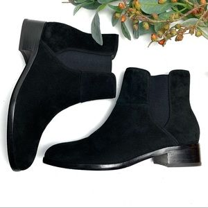 ANN TAYLOR Chelsea Ankle Boots Black Suede 6.5